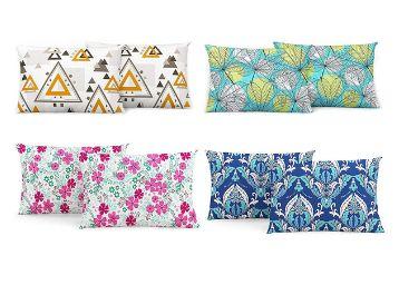 Divine Casa 100% Cotton Printed Design Assorted Pillow Covers Set of 4