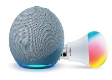 Echo Dot (4th Gen, Blue) Combo with Wipro 9W LED Smart Color Bulb - Smart Home Starter Kit