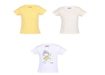 Life by Shoppers Stop Girls Round Neck Printed and Striped Tee - Pack of 3