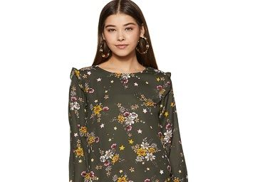 Life by Shoppers Stop Womens Round Neck Floral Printed Top