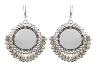Silver Tribal Hoop Dangler Hanging Mirror Chandbali Earring Antique Jewellery for Girls & Women