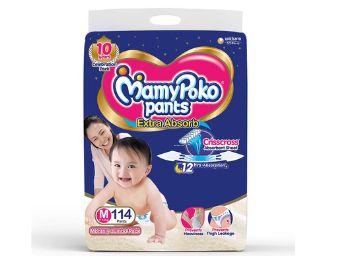 MamyPoko Pants Diapers Monthly Pack, Medium (7 -12 kg), Pack of 114