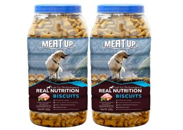 Meat Up Chicken Flavour , Dog Treats -500g Jar ( Buy 1 Get 1 Free)