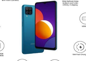 Samsung Galaxy M12 (Blue,6GB RAM, 128GB Storage) 6000 mAh with 8nm Processor | True 48 MP Quad Camera | 90Hz Refresh Rate