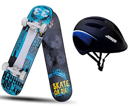 jaspo Stunt Master Dual Combo Wooden Skateboard with Helmet