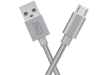 Zinq Technologies Nylon Braided Micro USB Cable - 4.9 Feet (1.5 Meters, Silver)