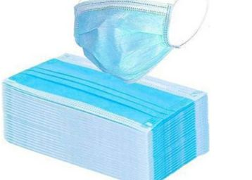 Amrange Non Wooven Elastic Ear-Loop Disposable Face Mask, 3 Ply - Pack of 100 Pieces