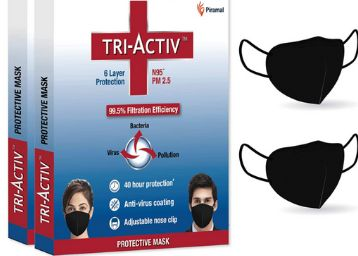 Tri-Activ 6 Layer Protective Face Masks, PM2.5 / N95 Tested as per NIOSH standard, Anti-Virus Coating, 99.5% Filtration Efficiency, Black mask Pack of 2
