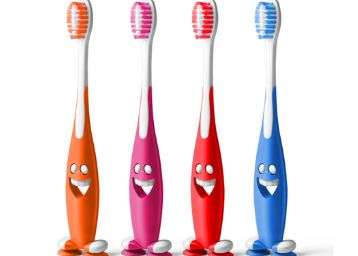 aquawhite Junior Smiley Kids Toothbrush, Soft Bristles, Pack of 4.(Colour may vary)