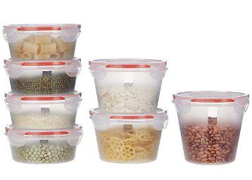 Amazon Brand - Solimo Plastic Kitchen Storage Container Set, 7-Pieces