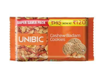 Flat 40% off on UNIBIC Cashew Badam Cookies, 500g At Rs. 72