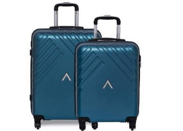 Aristocrat Sienna Blue Polycarbonate Hardsided Luggage Set of 2 Small & Medium