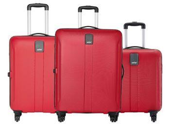 Safari Thorium Sharp Anti-Scratch Combo Set of 3 Red Small, Medium & Large Check-in 4 Wheel Hard Suitcase