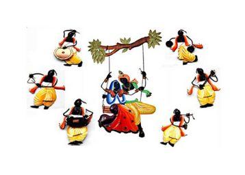 Karigaari India Radha Krishna Wall Hanging with 6 Dancing Pandits - Iron