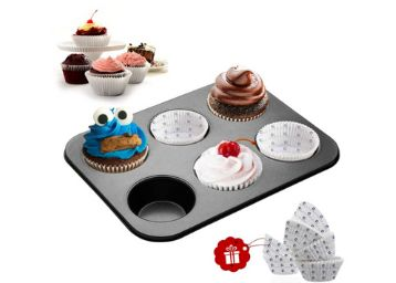 Casa Azul Carbon Steel Muffin Pan with 60 Pcs Muffin Liners - Pack of 1