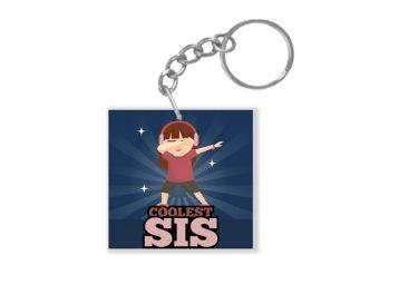 Yaya Cafe™ Birthday Sister Coolest Sis Keychain Keyring