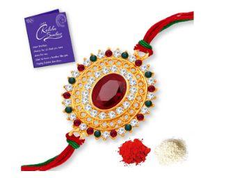 Sukkhi Eye-Catchy Gold Plated Rakhi with Roli Chawal and Raksha Bandhan Greeting Card for Men (RAK100035)