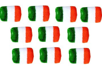 Unisex Tricolour Woolen Stretchable Indian Flag Band Display, Pack of 10
