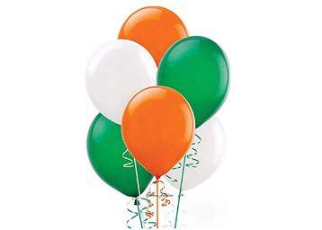 AMVAISH Orange, White & Green Colour Premium Balloon