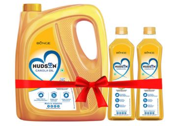 Hudson Canola Oil, Healthiest Cooking Oil, Indian Medical Association Recommended- 5L with 2L