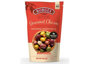 Borges Gourmet Charm Olives with Vegetables & Extra Virgin Olive Oil Pouch, 350 g