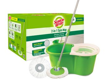 Scotch-Brite 2-in-1 Bucket Spin Mop (Green, 2 Refills), 4 Pcs, At Rs.1069
