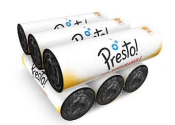 Presto! Oxo-Biodegradable Garbage Bags, XL (30 x 37 inches) - 10 bags/roll (Pack of 6, Black)