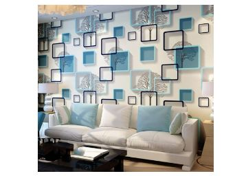 Wolpin Wall Stickers Wallpaper DIY Decal (45 x 500 cm) 3D Frames PVC DIY Self Adhesive, Active Blue
