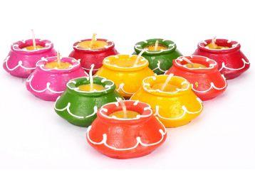 Buy Tied Ribbons Clay Handmade Waxed Diya Set for Home Decoration (Design 11), At Jusr Rs.199
