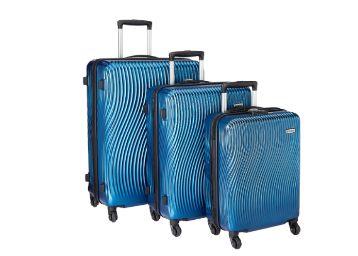 Buy Amazon Brand – Solimo Ripple Hardside Trolley, Blue, Set of 3 (55cm + 66cm + 75cm)