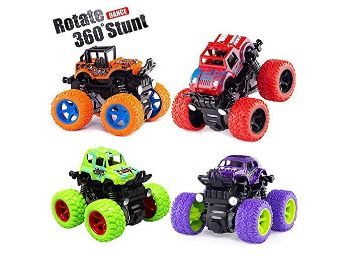 Buy Mini Monster Truck Friction Powered Cars Toys, 360 Degree Stunt 4wd Cars Push