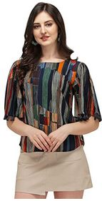 DHRUVI TRENDZ Women Printed Slub Rayon Top with Half Sleeves
