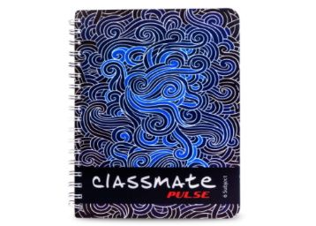 Classmate Pulse 6 Subject Notebook - Unruled, 300 Pages, Spiral Binding At Rs. 89