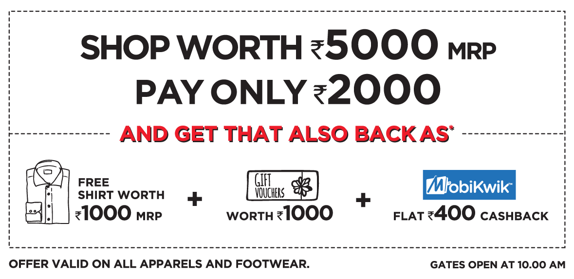 Brand Factory Shopping Weekend :- Shop for Rs. 5000 & Pay Only Rs. 2000 discount deal