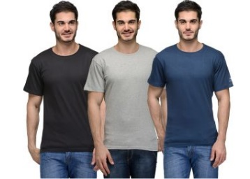 Urban Glory Men's Solid T-Shirt (Pack of 3) at FLAT 80% OFF + Extra 10% OFF