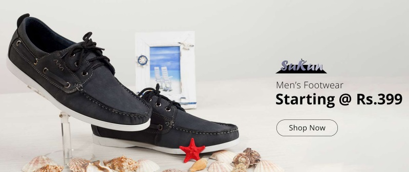 Sukun Men's Footwear – Starting @ Rs 399 + More Offers discount offer