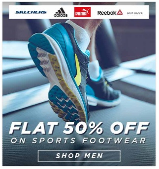 ABOF – FLAT 50% – 60% off on Branded Sports Footwear discount offer