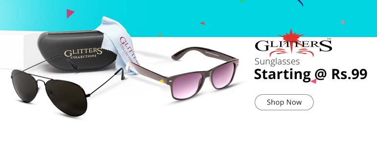 Get Upto 90% off- Glitters Sunglasses, Starts @ Rs. 99 + More Offers low price