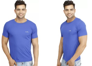 Eprilla Solid Men's Round Neck Blue T-Shirt low price