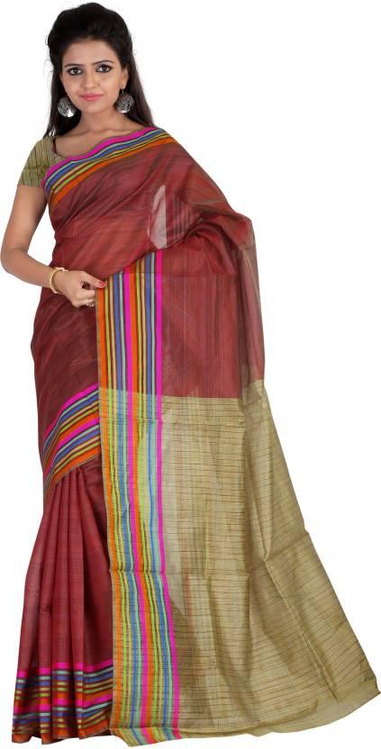 Silkbazar Printed Mysore Silk Sari  (Maroon, Beige) low price