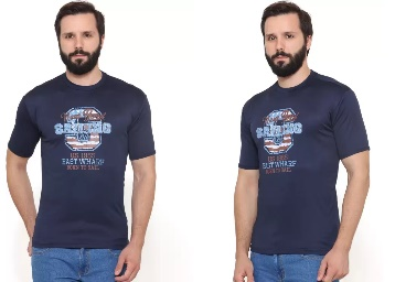 US Adventure Printed Men's Round Neck Dark Blue T-Shirt low price