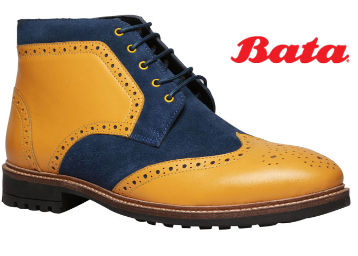 Bata Yellow Lace-up Boots For Men low price
