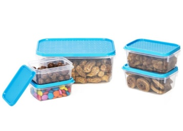 Lightning Deal! All Time Plastics Polka Container Set, 5-Pieces, Blue
