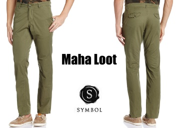 Loot : Symbol Men's Slim fit Casual Trousers