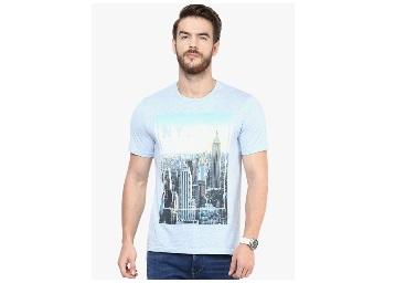 Celio Blue Printed Round Neck T-Shirt low price