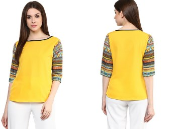 Yellow Solid Boat Top at Just Rs. 379 + Free Shipping discount offer