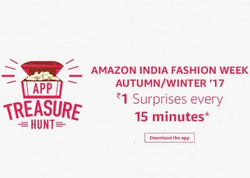 Amazon App Treasure Hunt - Re.1 Surprises Every 15 Minutes discount offer