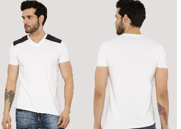 BLOTCH Shoulder PU Panel T-Shirt With Asymmetrical Hem at Rs. 381 + FREE Shipping discount offer