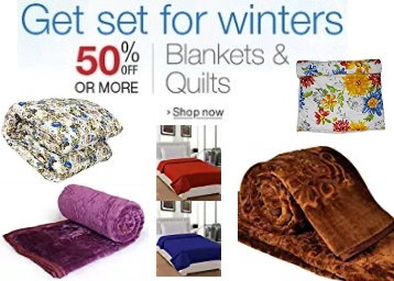 Be Winter Ready : Blankets & Quilts Min. 50% off, starts at Rs. 198 + Free Shipping low price