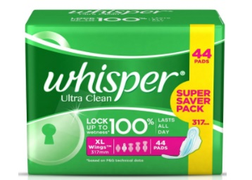 Get Whisper Ultra Clean Sanitary Pads Extra Large (44 Count) discount deal